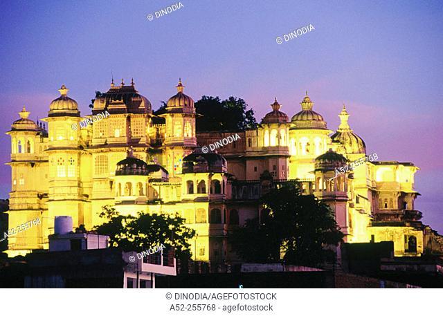 City palace after dusk. Udaipur. Rajasthan. India