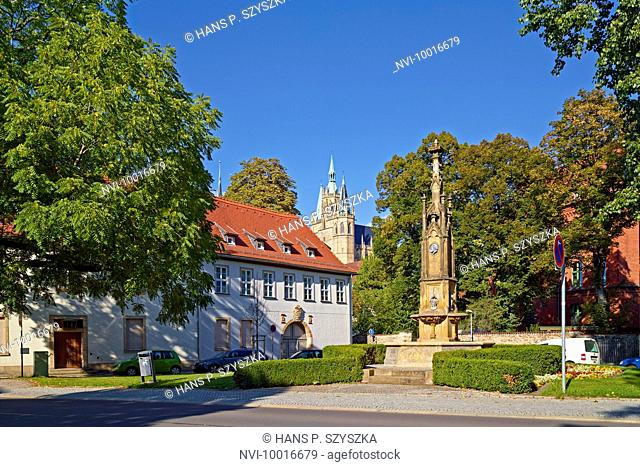 Hermann Square with Cathedral Chapter, Cathedral and fountain in Erfurt, Thuringia Germany