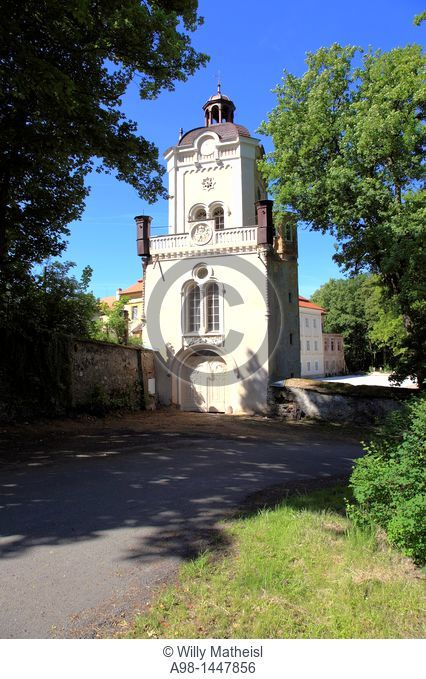 restored tower and entrance gate of historic castle at the village Bystrice Nad Uhlavou, Bohemia, Czech Republic, Europe