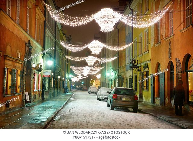 Warsaw, Old Town in Christmas time, Poland, Europe