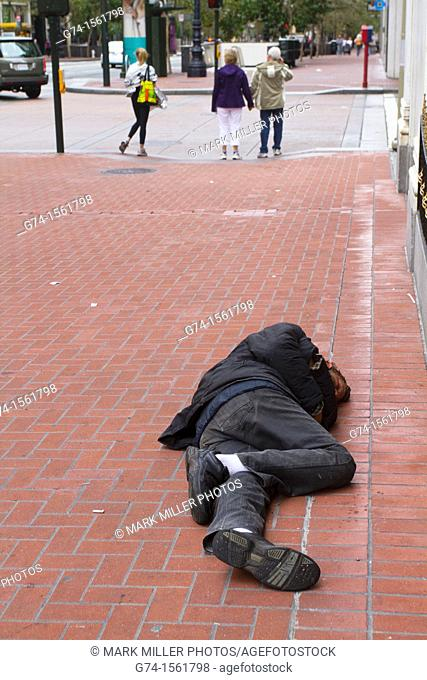 Street Person Sleeping on Street, San Francisco, California, USA