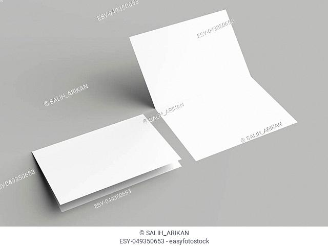 Bi fold vertical - landscape brochure or invitation mock up isolated on gray background