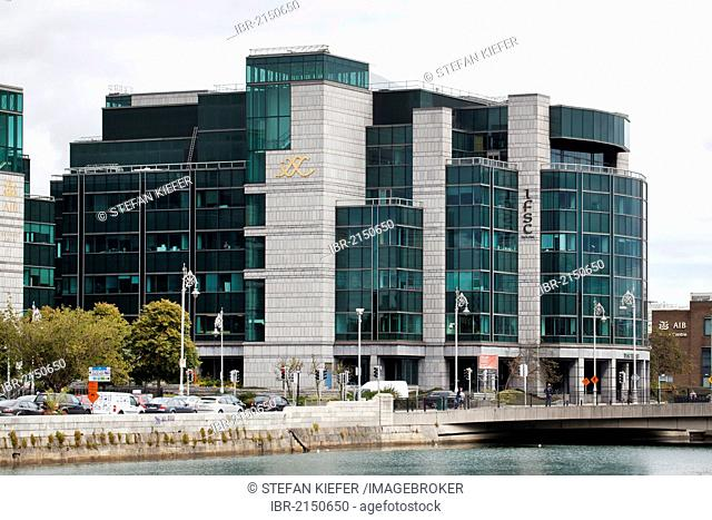 Headquarters of the Allied Irish Bank, AIB, on the River Liffey in the financial district in Dublin, Ireland, Europe