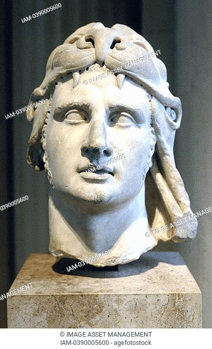 Alexander the Great 356-323 BC Alexander III of Macedon  Portrait bust showing Alexander wearing lion head-dress