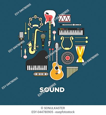 Instruments with great sound formed in circle. Powerful wind, authentic noise and fine stringed instruments, loud percussion, melodic keyboards