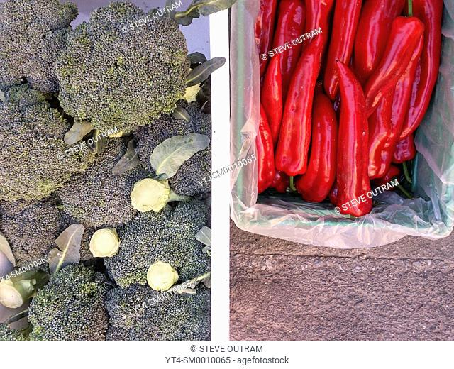 Fresh Broccoli & Red Peppers for sale, Crete, Greece
