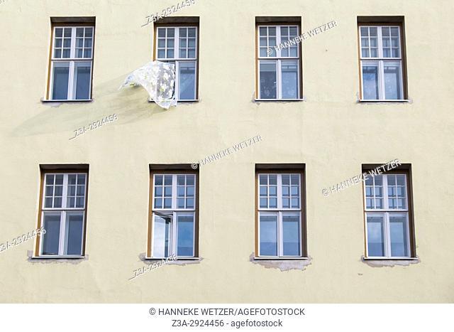 A curtain moving in the wind in Tallinn, Estonia, Europe