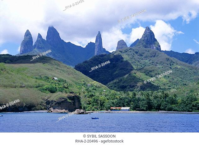 View across sea to island, Fatu Hiva, Marquesas Islands, French Polynesia, South Pacific islands, Pacific