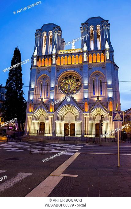 France, Provence-Alpes-Cote d'Azur, Nice, Basilica of Notre-Dame de Nice at dusk