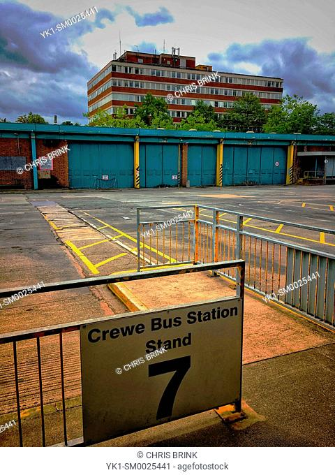 Deserted bus station in Crewe Cheshire UK