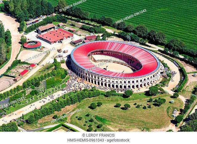 France, Vendee, Les Epesses, Le Puy du Fou, amphitheater (aerial view)