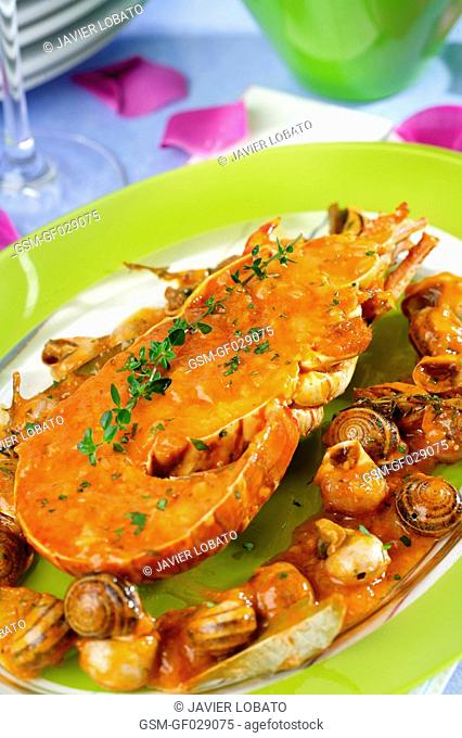Lobster with snails