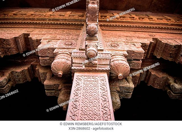 Column and wall details of the Agra Fort in Agra, India
