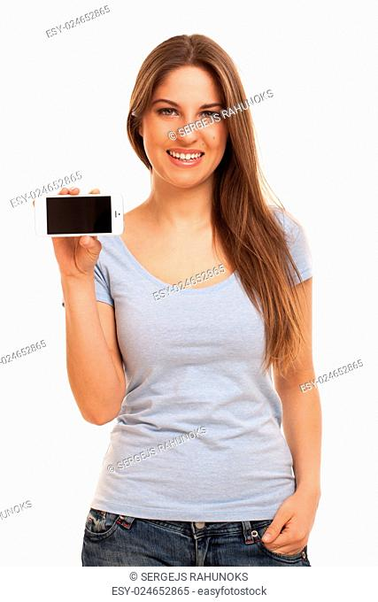 Young caucasian woman with smartphone over white background
