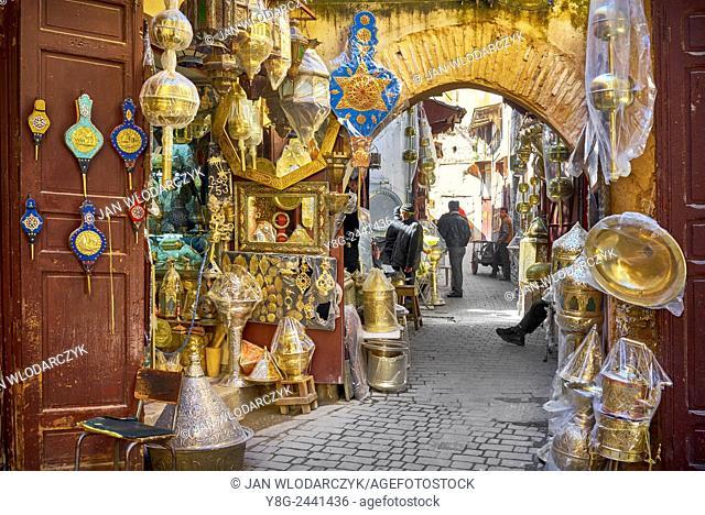 Fez, Souk in Medina, El Bali district. Morocco
