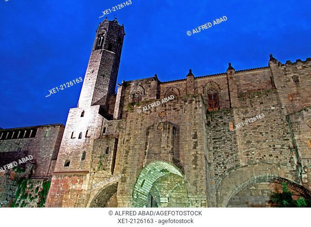 Ramparts, bell tower of the church of Santa Agata, Barcelona, Catalonia, Spain