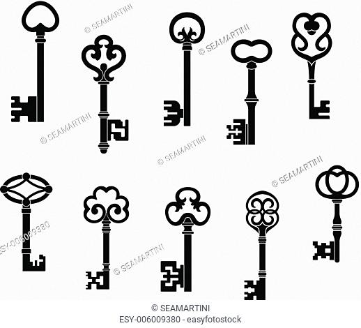 Old and vintage keys set with secret silhouettes