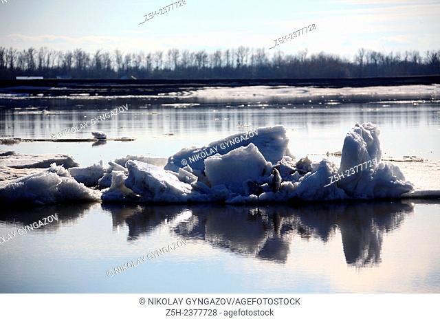 Siberian landscape. Ice drift on the river. Tyumen region