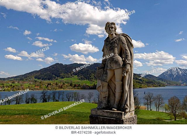 Monument, King Ludwig II of Bavaria, Gut Kaltenbrunn, Tegernsee lake behind, Upper Bavaria, Bavaria, Germany