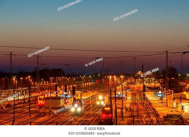 The railroad station late in the evening. Cottbus, Germany