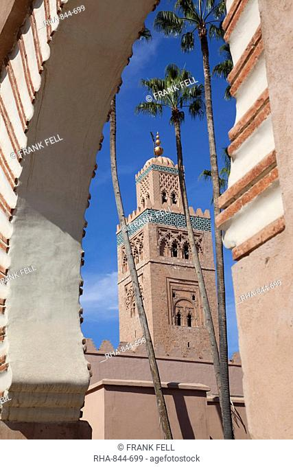 Minaret of the Koutoubia Mosque, Marrakesh, Morocco, North Africa, Africa