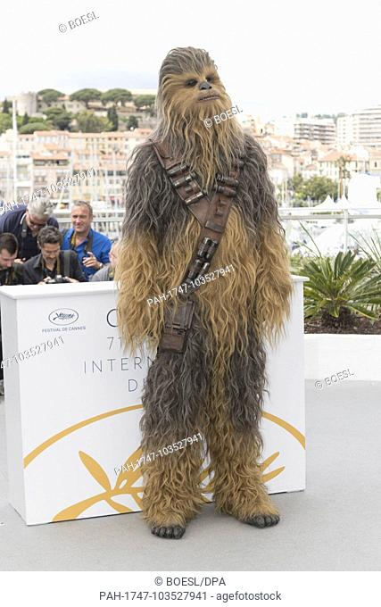 Chewbacca poses at the photo call of 'Solo: A Star Wars Story' during the 71st Cannes Film Festival at Palais des Festivals in Cannes, France, on 15 May 2018