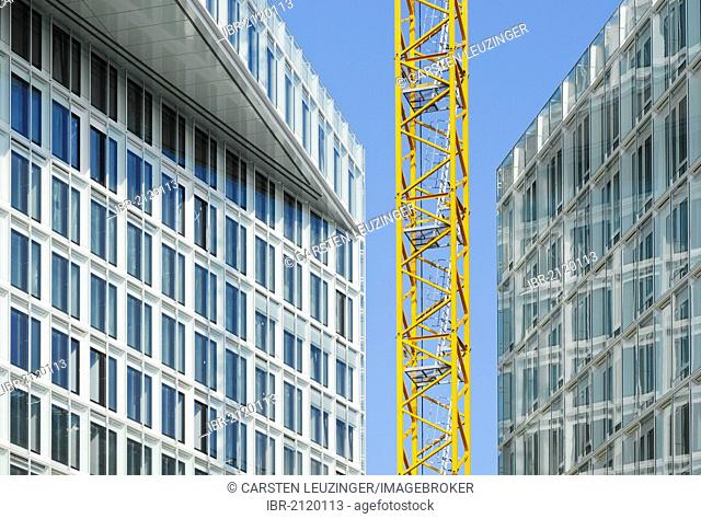 Construction site at Ericusspitze, construction crane between two new office buildings, HafenCity, Hamburg, Germany, Europe