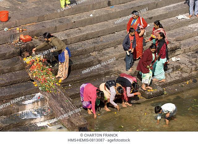Nepal, Kathmandu Valley, listed World Heritage by UNESCO, Kathmandu, hinduist necropolis and cremation ghats of Pashupatinath