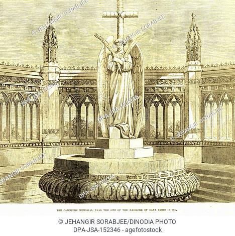 Military and munity mutiny views Cawnpore memorial near seat of massacre by Nana Sahib in 1857 ; Kanpur ; Uttar Pradesh ; India