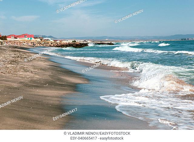 """Pomorie, Bulgaria - September 21, 2018: The area """"""""Kosata""""""""around the city. The beach is one of the most beautiful on the Bulgarian coast"""