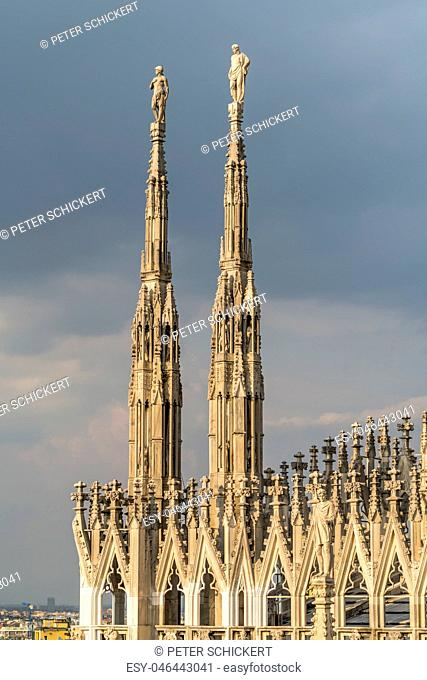 Italy, Milan, pinnacles and spires of Milan Cathedral