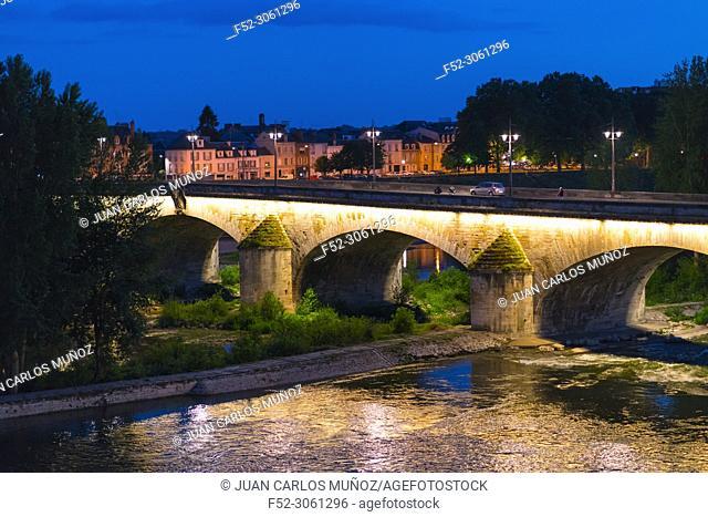 George V Bridge by night, Loire River, Orleans City, Loiret Department, The Loire Valley, France, Europe