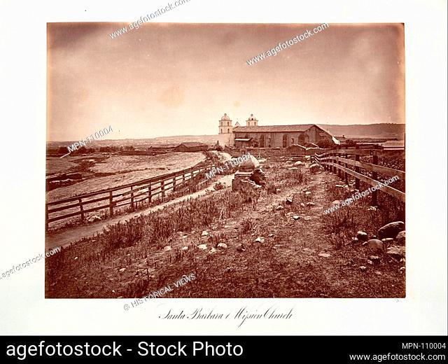 Santa Barbara and Mission Church. Artist: Carleton E. Watkins (American, 1829-1916); Date: 1876, printed ca. 1876; Medium: Albumen silver print from glass...