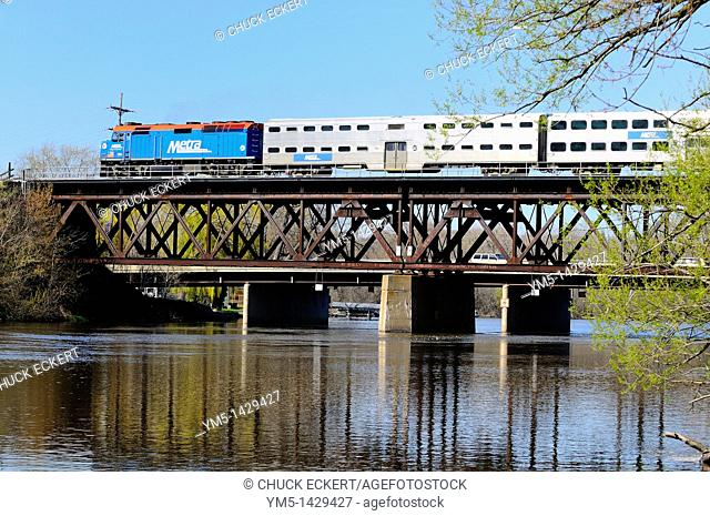 A Chicago Northwestern METRA commuter train crossing the Fox River in Fox River Grove, Illinois