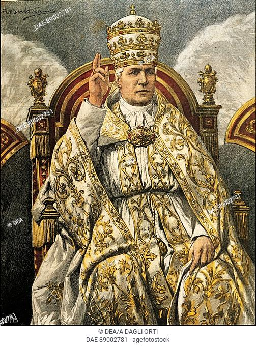 Portrait of Pope Pius X (Giuseppe Melchiorre Sarto, Riese, 1835-Rome, 1914), illustration from 1903 by Achille Beltrame (1871-1945) from the Domenica del...