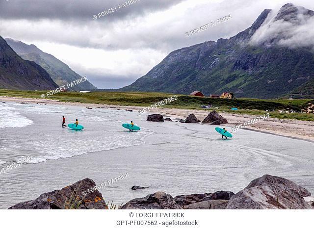 SURFING SPOT, FLAKSTAD, LOFOTEN ISLANDS, NORWAY