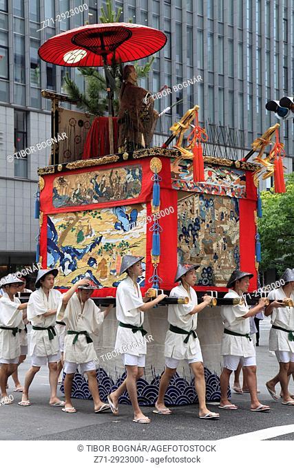 Japan, Kyoto, Gion Matsuri, festival, Yama Hoko procession, float, people,
