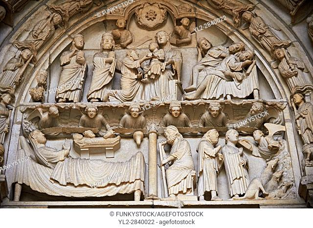 North Porch, Left Portal (Incarnation Portal), Tympanum- Gifts of the Magi and Dream of the Magi c 1194-1230, from the Cathedral of Chartres, France