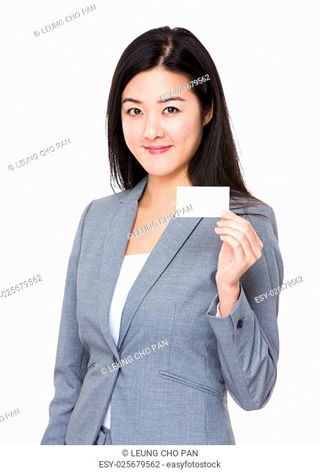 Asian businesswoman show with business card