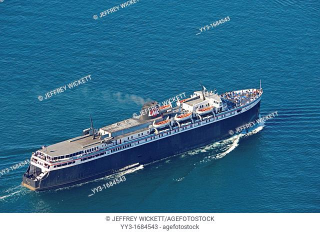 Lake Michigan Car ferry - the Badger is the last remaining car ferry operating on Lake Michigan between Ludington, Michigan and Manitowac, Wisconsin