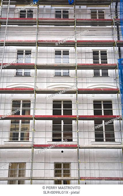 Scaffolding on building, Castle district, Prague, Czech Republic