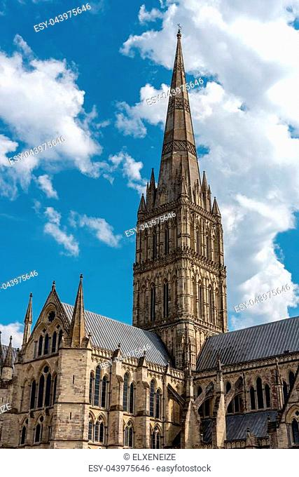 The spire of the cathedral in Salisbury, the tallest in England