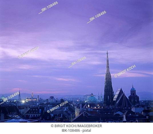 View over the town with Stephansdom at dusk - Vienna - Austria