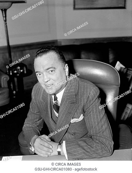 J. Edgar Hoover, Director of FBI, Department of Justice, Portrait, Washington DC, USA, April 1940