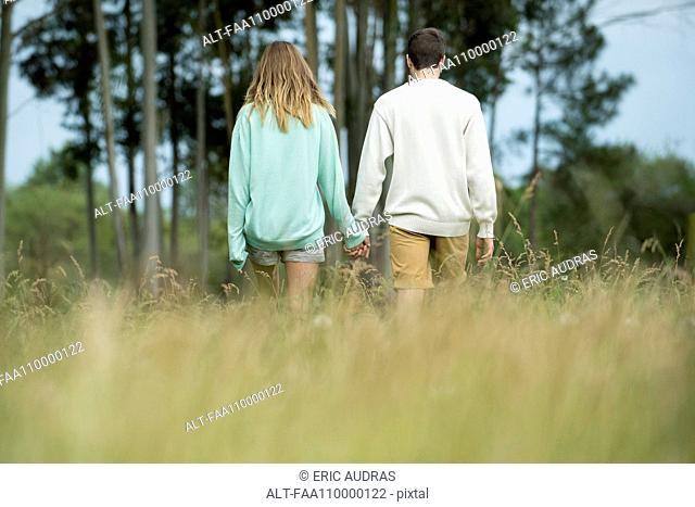 Couple walking together through tall grass, rear view