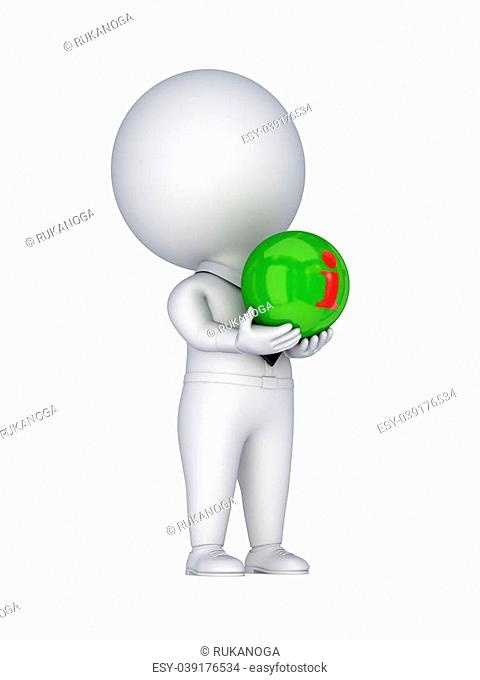 Info symbol in a hands.Isolated on white background