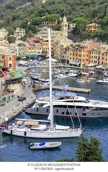 Yacht in the harbor of Portofino, province of Genoa, Liguria, Italy