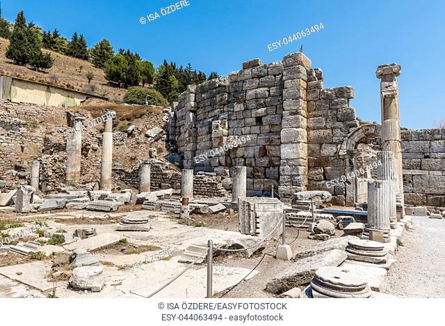 Prytaneion at ancient ruins at Ephesus historical ancient city, in Selcuk,Izmir,Turkey