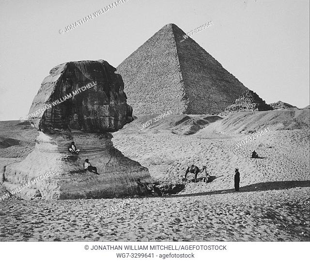 EGYPT Giza -- 04 Mar 1862 -- The Sphinx and one of the great pyramids of Giza Egypt -- Picture by Francis Bedford/Atlas Photo Archive
