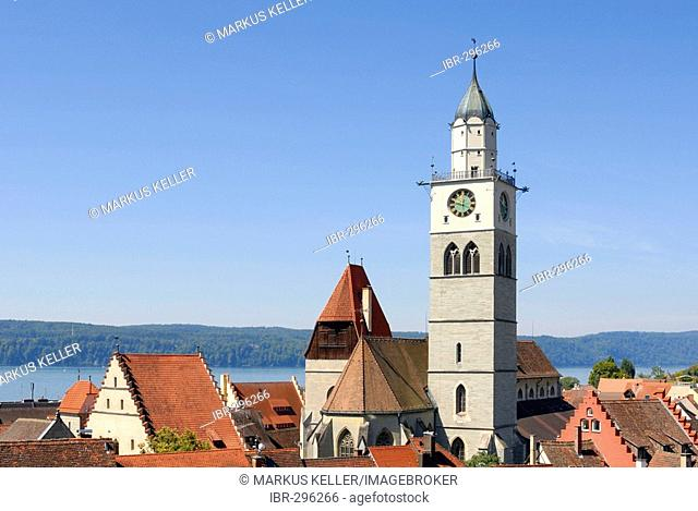 A view over the old part of town from Ueberlingen - Baden Wuerttemberg, Germany, Europe